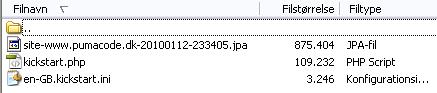 Disse Filer skal bruges til Kickstart instalation af Joomla